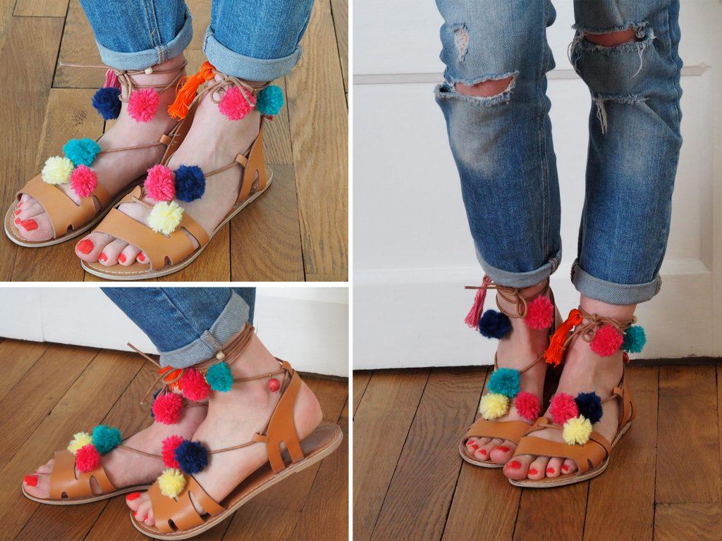 Diy les sandales pompons like a bobo - Quoi faire avec des pompons ...